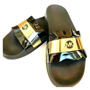 Michael Kors gold and patten leather slides size 9